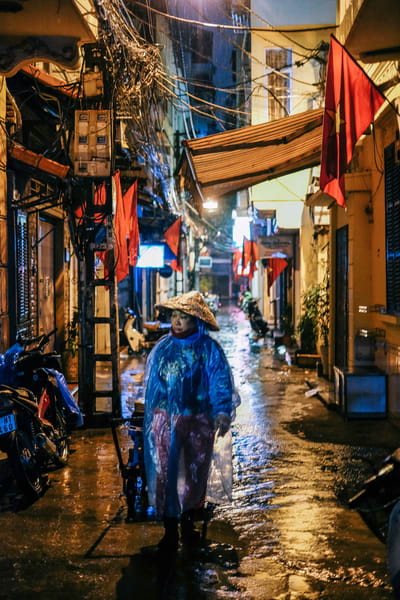 Fine Art Prints, Rainy Night in the Old Quarter with Neon Lights, Hanoi, Vietnam