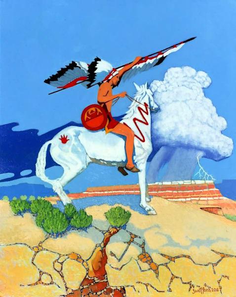 Original Western Art Oil on Canvas by Jim Bob Swafford - Showing Honor