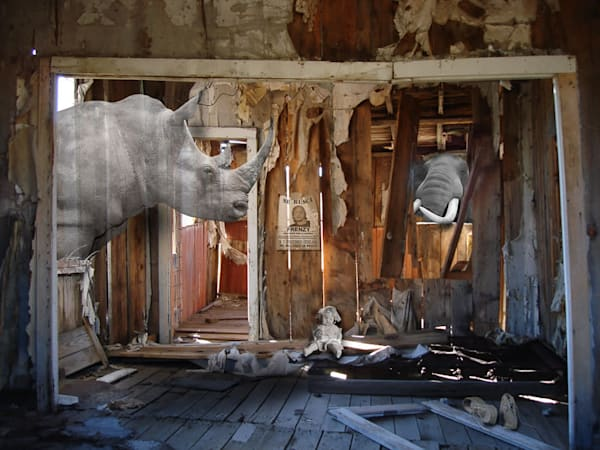 Bodie is a ghost town in California. It was the setting for a surreal photomontage by artist Vincent DiLeo.