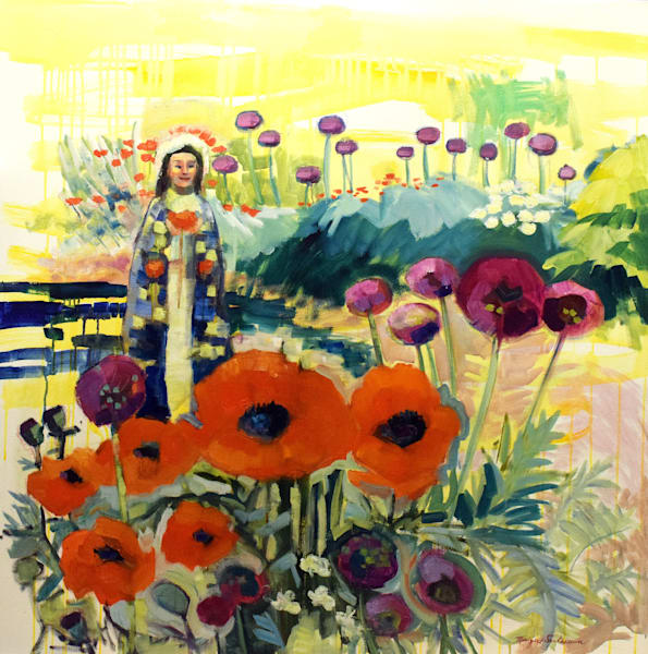 Beautful red poppies and allium painting I did at Chanticleer Garden in Wayne with a female saint added.
