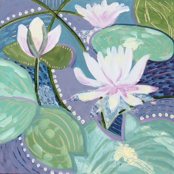 Lavendar Lake Lilies Art | Kristin Webster Art Studio