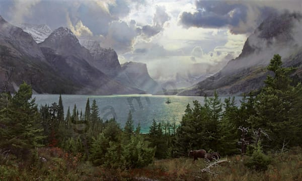 Afternoon at Saint Mary Lake on Fine Art Paper and Canvas for Sale.