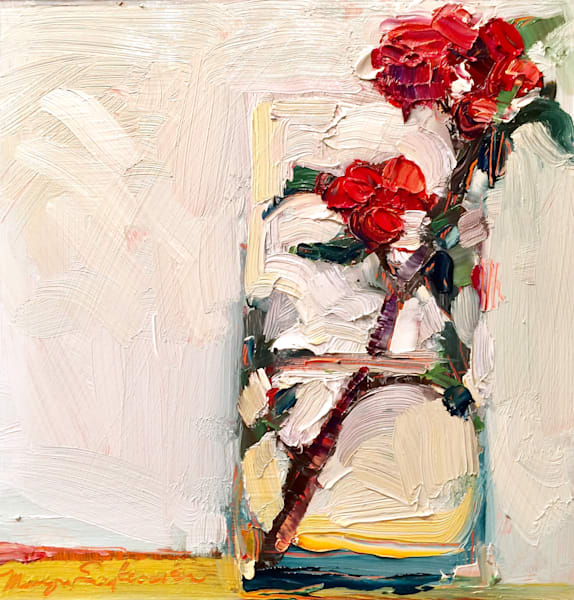 "Striking ""Still Life With Red Flowering Quince Blooms 9""  gorgeous oil painting"