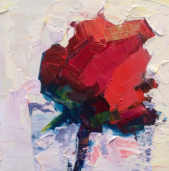 "Striking ""Still Life With Single Red Rose""original oil painting."