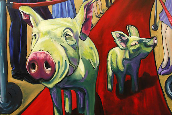 Happy Pigs 12x8 Canvas Art | HFA print gallery