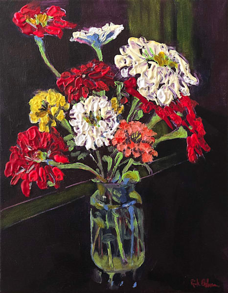 Happy Birthday Zinnias in a Jar | Fine Art Painting Print by Rick Osborn