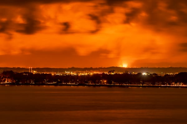 Hawaii Lava Photography | Hilo Bay Front Lava Glow by Peter Tang