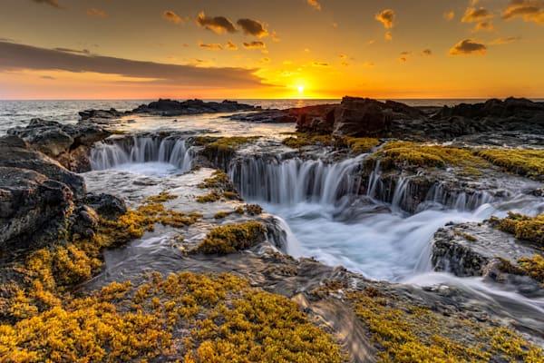 Hawaii Beach Photography | Kona Sunset Drains by Peter Tang