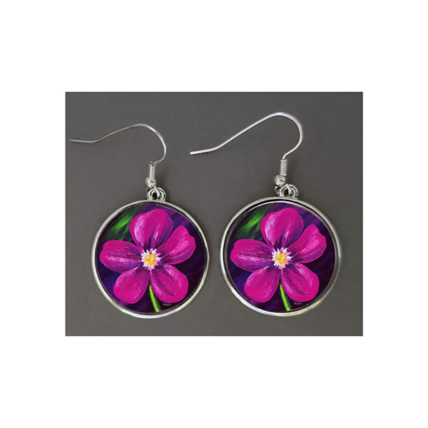 Unique jewelry created with Mare's Art artwork of Pink Love printed right on the earrings, perfect for you or as an artsy gift!