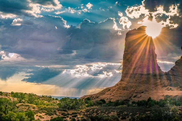 Heavenly Sunrays shining through Moab Clouds - Fine Art - Photography