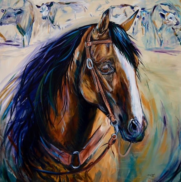 Acrylic Painting of a Cutting Horse by Misty Biros - In the Eyes