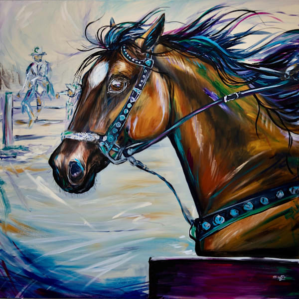 Original acrylic painting of a Cutting Horse - In the Eyes by Misty Biros
