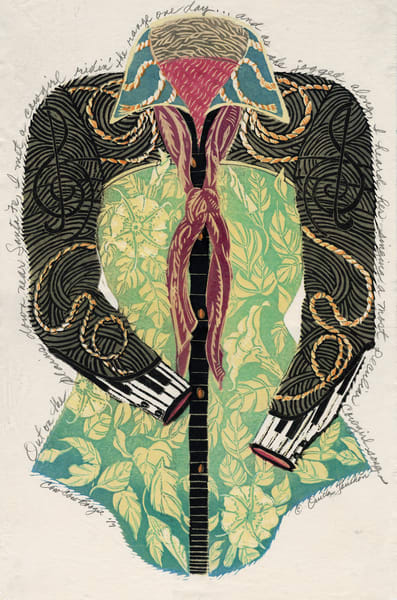 Cow Cow Boogie, woodcut print original art or fine art print by Ouida Touchon