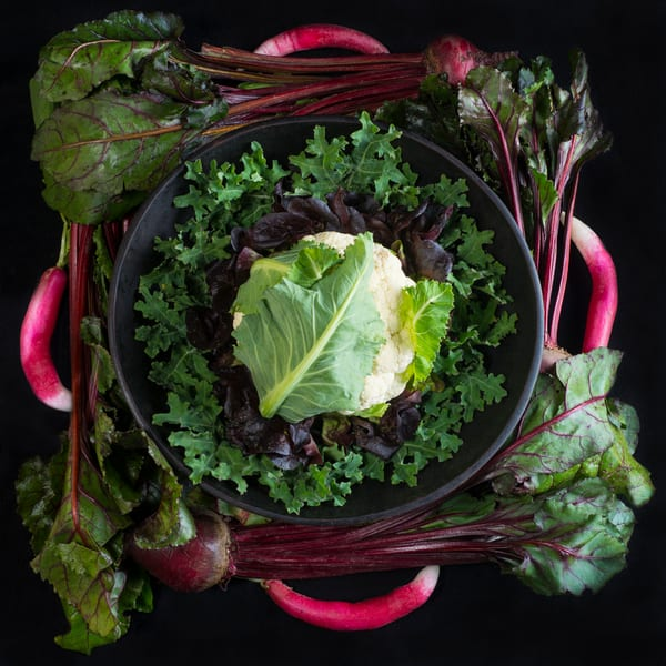 Cauliflower, Radish and Beet Mandala