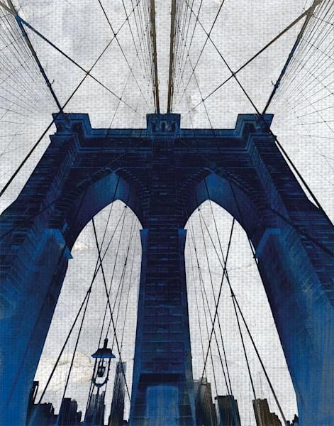Brooklyn Bridge Blue by artist GI ArtLab Canvas Art Print