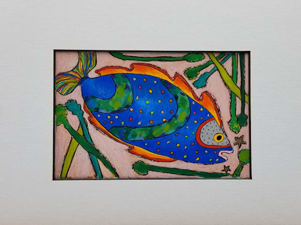 Fish VIII Mixed Media Gouache Prismacolor Pencil & Ink Painting Drawing