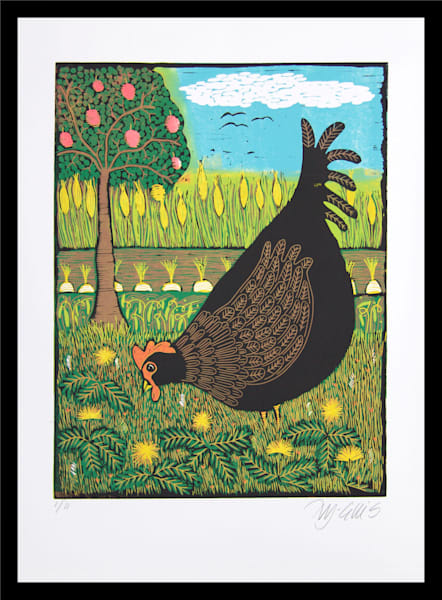 Little Black Hen - linocut reduction