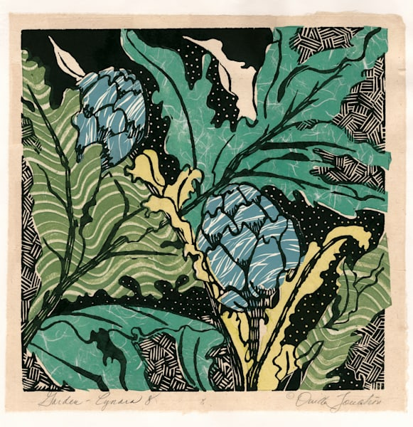 Artichokes #8, a new botanical woodcut by Ouida Touchon, New Mexico artist.