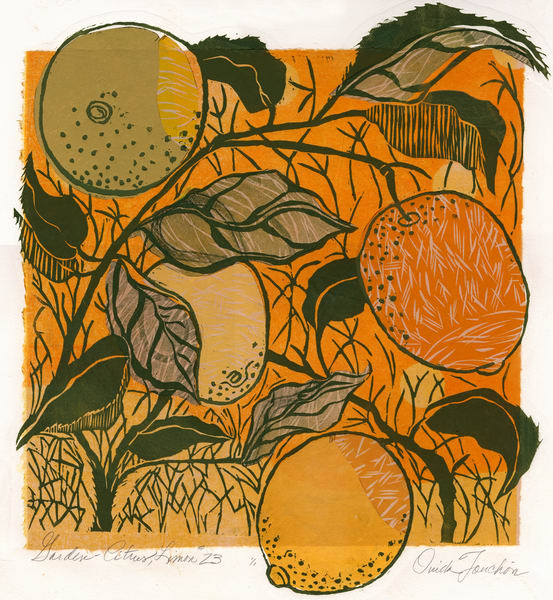 'Lemons 23', graphic botanical handprint for sale by Ouida Touchon