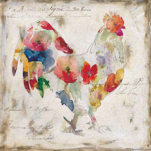 Flowered Rooster by Artist Carol Robinson Wrapped Canvas Painting Art Print