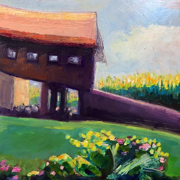 """""""Glowy 1"""" farm in afternoon light with cornfield at Honker Hill Farm. Loads of character! Original Oil painting on wood measures 10"""" x 10"""" and has a white wood floater frame."""