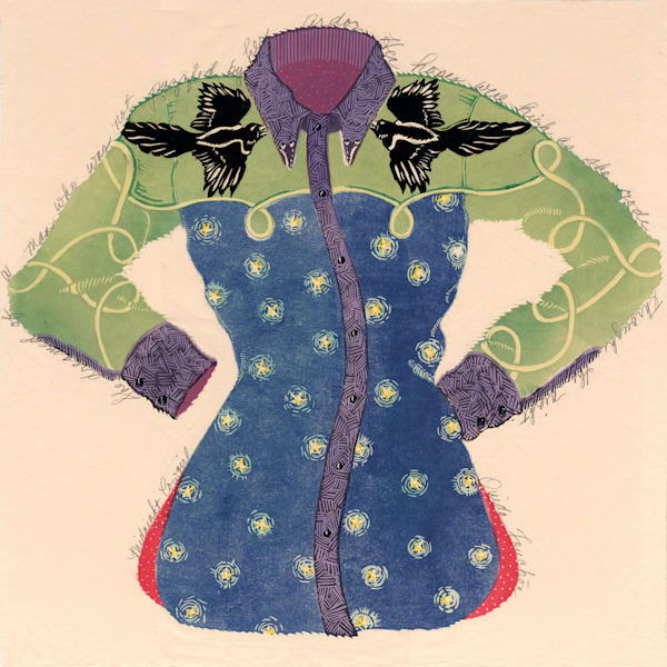 Midnight Cowgirl, limited edition woodcut for sale, Ouida Touchon