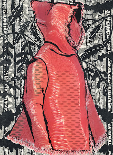 Lil Red in the Black Forest, original woodcut print for sale by Ouida Touchon