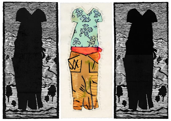 Billie Holiday, triptych original artwork by Ouida Touchon