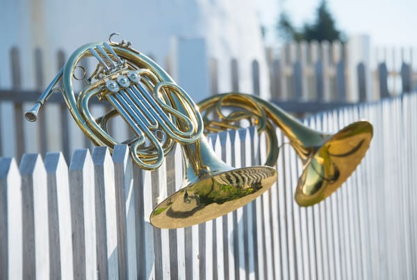 On A White Picket Fence - French Horn fine art print on paper, canvas or metal | Instrumental Art