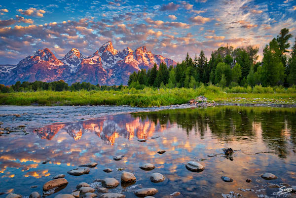 Cloudy sunrise in Grand Teton National Park, Wyoming.