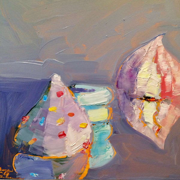 """""""French Desserts Series-French Meringue Trio"""", still life oil painting on wood, 8""""x8"""", mounted on a 12"""" white backing panel."""