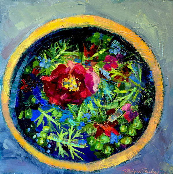 """Chanticleer Peony Bowl"" oil painting on wood a luscious plein air landscape from Chanticleer Garden in Wayne"