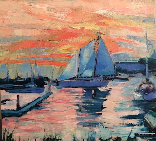 """""""Joyride 29 Annapolis Boats"""" Shipyard.  Gorgeous painting of sailboats. Painting of boats at the  Oil painting on wood  measures 12""""x12"""" Framed with a white frame."""