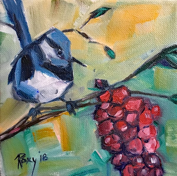 Blue Wren with Grapes