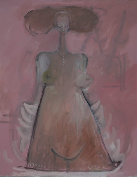 Standing Woman White Robe Art | Sandy Garnett Studio