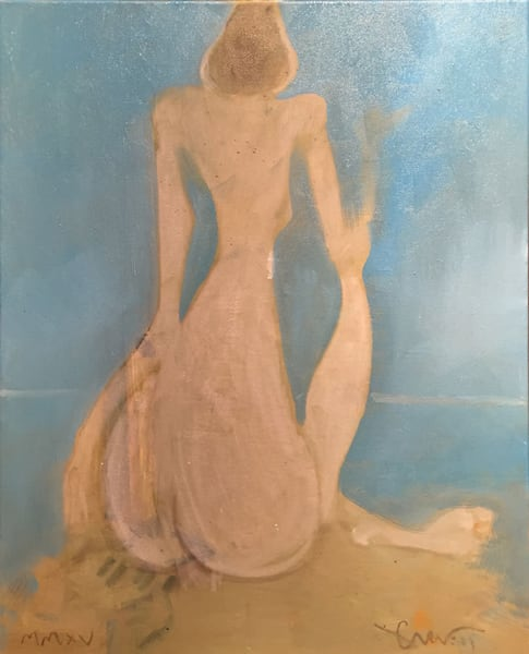 Garnett Figure Looking Out On The Ocean Art | Sandy Garnett Studio