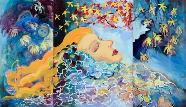 """Radiant Woman Triptych oil painting""-A reclining woman dreams amidst a twisted red maple and stars. She is a life bearer, absorbing radiance from the heavens and able to in turn radiate joy and peace back to the world around her. Oil on 3 canvases"
