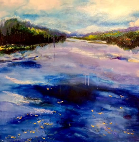 """Plein air """"Lake Galena II"""". Original oil  and mixed media painting on canvas measures 36"""" x36"""","""