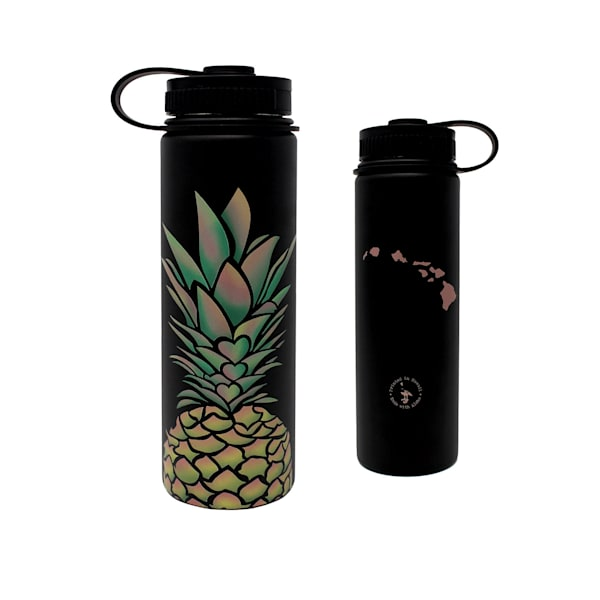 Pineapple Hearts Black Flask