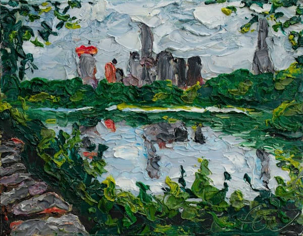 Central Park Lake with city reflection on lake | Fer Caggiano Art
