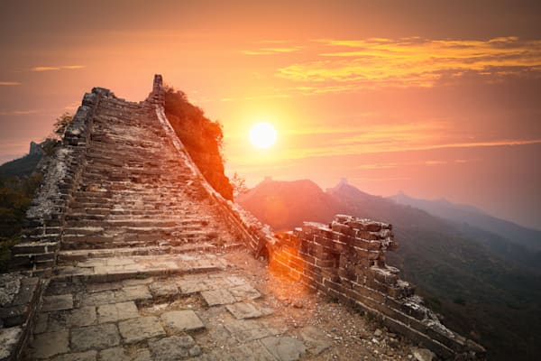 The Great Wall Ruins In Sunrise