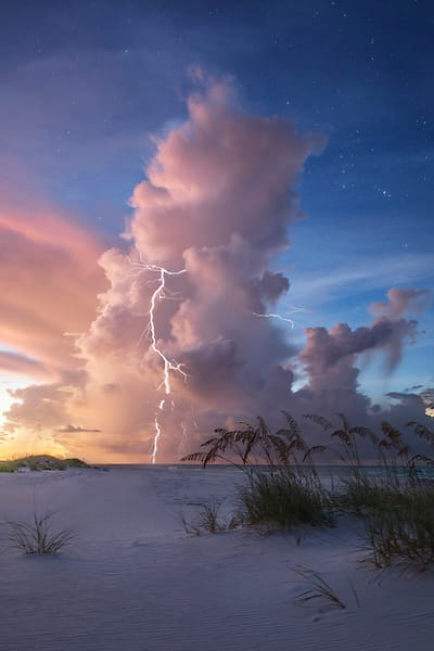 Towering storms building up over the Gulf of Mexico during beautiful morning twilight near Pensacola Beach, Florida | Fine Art Prints on Canvas, Paper, Metal, & More | Waldorff Photography