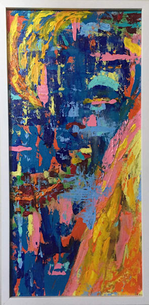 Great for narrow wall space. very textured, bright colored abstract.