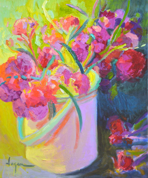 Coral Carnations Art Print Painting by Dorothy Fagan