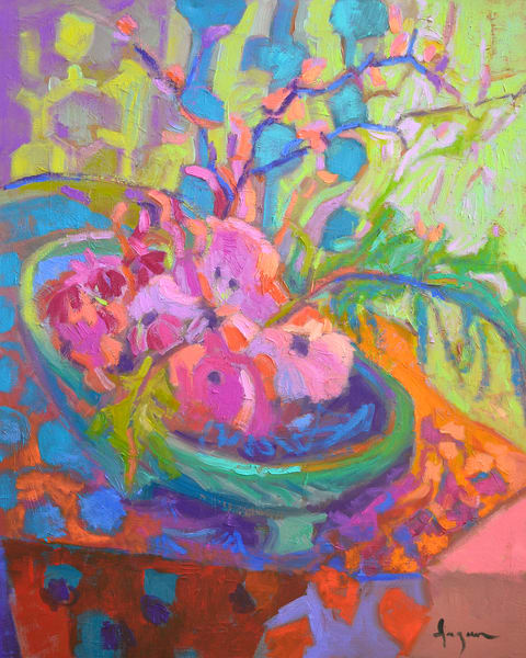 Colorful Pink Flowers Painting Print, Abundance Blooming by Dorothy Fagan