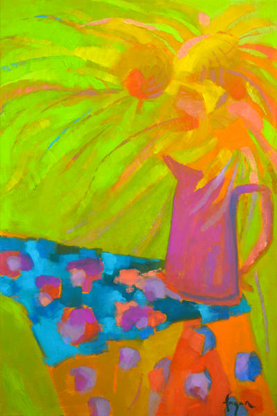 Abstract Sunflower Painting, Canvas Prints Sunflower Jazz by Dorothy Fagan
