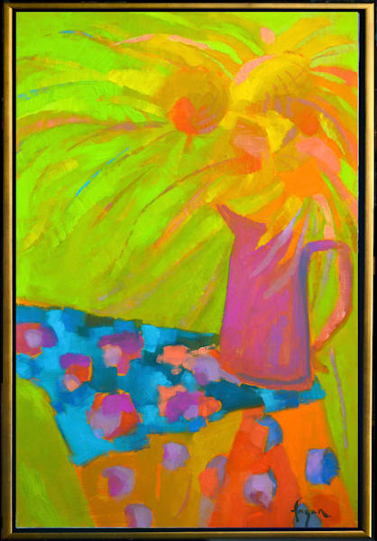 Abstract Sunflower Oil Painting Original Canvas Sunflower Jazz by Dorothy Fagan