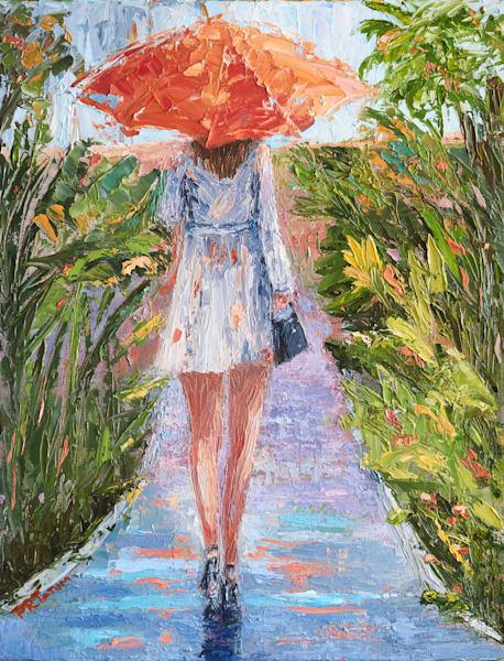 Under My Orange Umbrella Ii  Art | Pamela Ramey Tatum Fine Art