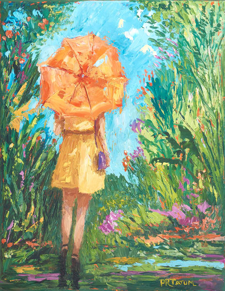 Girl under orange umbrella, spring rain