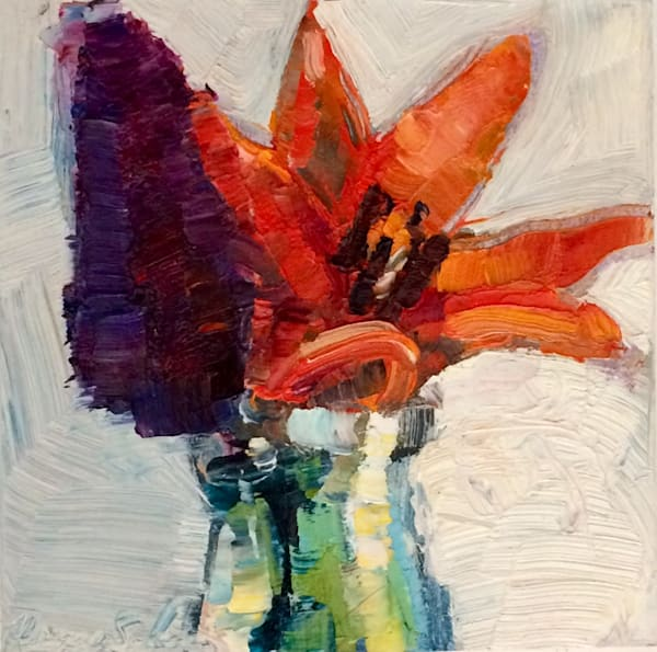 "Orange and purple still life floral ""Still Life With Orange Daylilies and Magenta Purple Butterfly Bush"". Original fine art by Monique Sarkessian. Lush vibrant oil painting on 6x6"" wood cradle board mounted on a 10""x10"" white backing panel."
